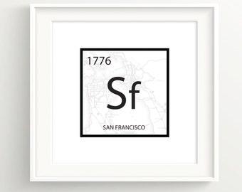 San Francisco Element Print - SF Vintage Map - Bay Area