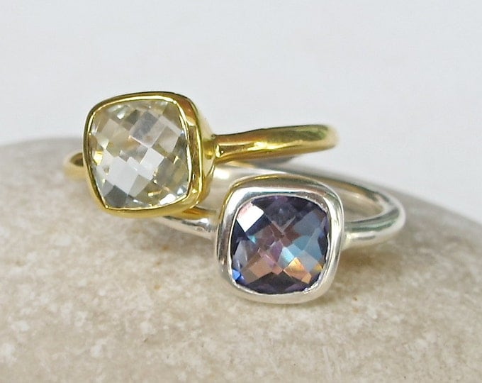 Gemstone Square Stackable Ring- Green Amethyst with Mystic Topaz Ring- Jewelry Gifts for Her- Stone Sterling Silver Ring