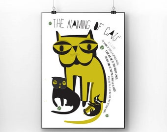 Black Cat print poster 11 Cat Poetry-  The Naming Of Cats  by T. S. Eliot - art print by nicemiceforyou