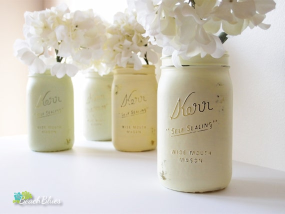 Spring Wedding Decor Painted Mason Jars Centerpiece Vase Yellow Green Table Decor