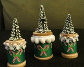 Trio of Miniature Spool Christmas Trees, Christmas Shelf Sitters, Christmas Trees, Tiny Christmas Trees, Miniature Christmas Trees