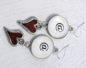 Hipster Geek Twitter Glass Enamel Heart Earrings