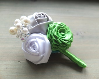Vintage Boutonniere, Vintage Ribbon Rose Corsages, Ribbon Rose Boutonniere, Geen,Silver and White Boutonniere