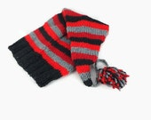 Hand knit black gray red striped stocking cap winter slouchy beanie womens long tail hat with pompom