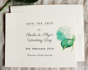 Blue Hydrangea Save The Date Blue Hydrangea Wedding Invitation