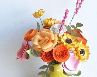 Paper Flowers Paper Flower bouquet, Valentine's Day Bouquet, Paper flower arrangement