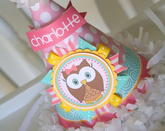 First Birthday Party Hat, Owl First Birthday Hat, Pink/Turquoise/Yellow Owl Party Hat