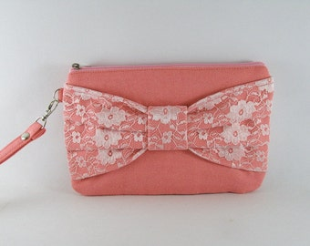 SUPER SALE - Peach Lace Bow Clutch - Bridal Clutches, Bridesmaid Wristlet, Wedding Gift, Cosmetic Bag, Zipper Pouch - Made To Order
