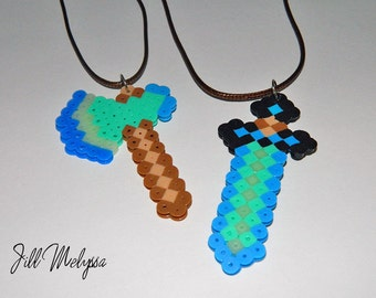 MINECRAFT inspired Diamond Sword or Diamond Axe necklace; Glow in the dark; adjustable; jewelry for kids; Minecraft party birthday gift