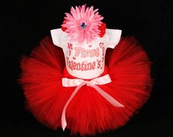 My First Valentines Day Bodysuit - Baby's First  Valentine's Day Outfit  - Babys 1st Valentines day -  My 1st Valentine Tutu  Set - VDHP1511