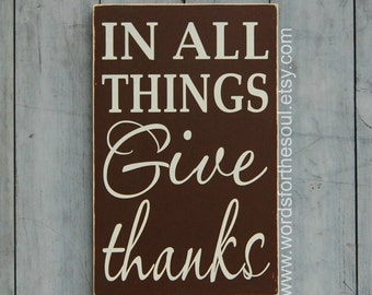 In All Things GIVE THANKS - Autumn Wall Decor - Thanksgiving Wall Decor - Wooden Sign - 1 Thessalonians 5 18 - Scripture Wall Art - Wall Art