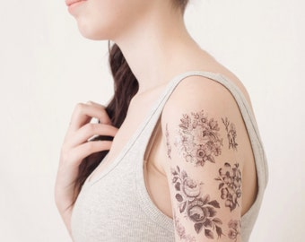 6 Flower Temporary Tattoos- Flower Accessory for Wife - Flower Gift for Wife - Girlfriend Romantic Gift - Girlfriend Personalized Gift