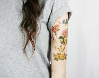 vintage wildflowers pack - 6 floral temporary tattoos - lavender, calendula, cherry blossom, camellia