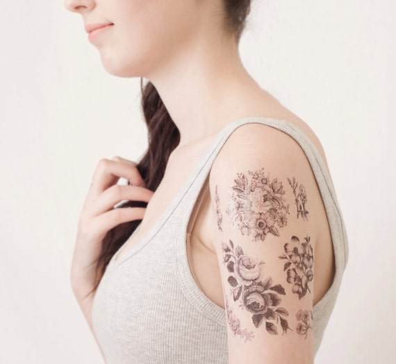 6 flower temporary tattoos flower accessory for wife flower for Adult temporary tattoo