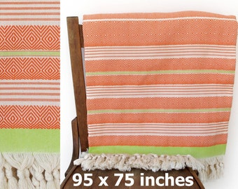 Coverlet Throw Blanket Handwoven Cotton Throw Turkish Bedspread Cotton Sofa Cover Turkish Furniture Throw Orange Green XX LARGE 240 x 190 cm