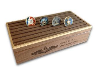 Personalized 42 Challenge Coin Keepsake Box