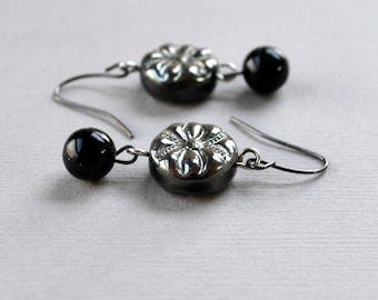 Gray Black Dangle Earrings Czech Glass Beaded Modern FREE Shipping Silver Chic Fashion Jewelry Jewellery Gunmetal Grey PaisleyBeading