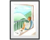 Day dreaming girl illustration, water color illustration print on paper with passe partout frame great as teenage girl gift