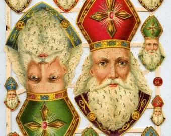 Saint Nicholas, St Nicholas SCRAP RELIEFS, Glittered Scrap Reliefs, St Nicholas Reliefs, Saint Nicholas Image, Christian Saint
