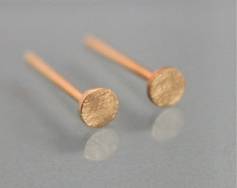 18k Circle Earrings Dot Disk 3mm 18k SOLID Yellow Gold Studs Brushed Finish Recycled Eco Friendly Gold
