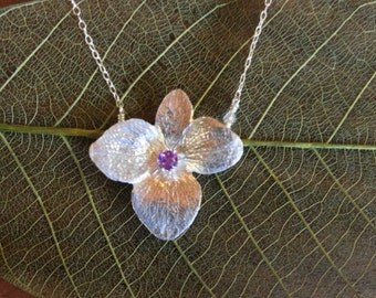 Sterling Silver Hydrangea Flower Necklace with Amethyst