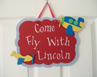 Airplane Birthday -  Boy's Birthday Door Sign - Boy's Airplane Birthday Sign