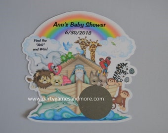 Unique Personalized Noah's Ark Theme Birthday or Baby Shower Party Favor Scratch off Lotto Game Cards