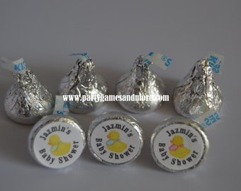 Unique Personalized Duck Theme Birthday, Baby Shower Hershey's Kiss Candy Labels
