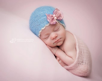 Newborn Mohair Butterfly Turban Hat - Photo Prop-Blue and Antique Pink