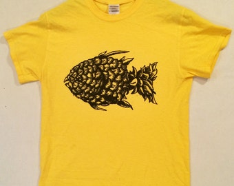 Pineapple Fish!! Hand-printed Limited Edition Relief Block T-Shirt