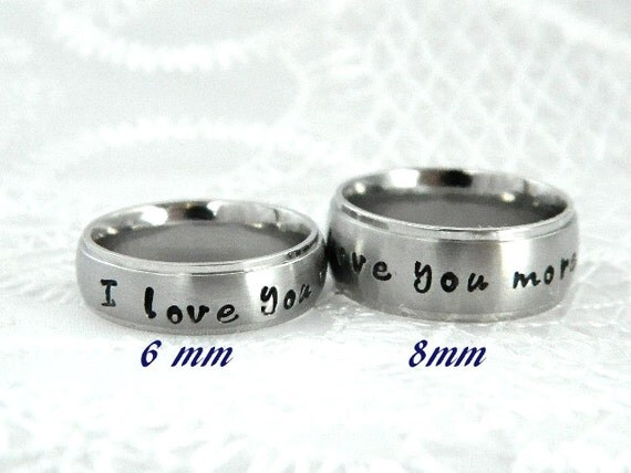 Couples Hand Stamped Name Ring Set by SnowMountainDesigns ...