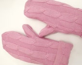 Light Pink Womens Mittens, Small, Upcycled Repurposed Sweater Mittens, Fleece Lined Earth Friendly Gloves, Winter Accessories, Gift for Her