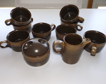 Mikasa Potters Art Creamer Sugar And Cup Set by Designer Ben Seibel