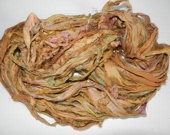 Recycled Sari Silk Ribbon Yarn,3.5 oz / 100 grams, 60 yards Bulky,Yellow green pink