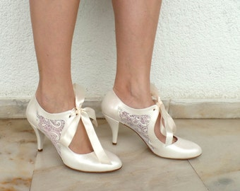 """Wedding Shoes - Bridal Shoes with Ivory Lace and Satin Ribbons, 3 1/2""""Heels"""