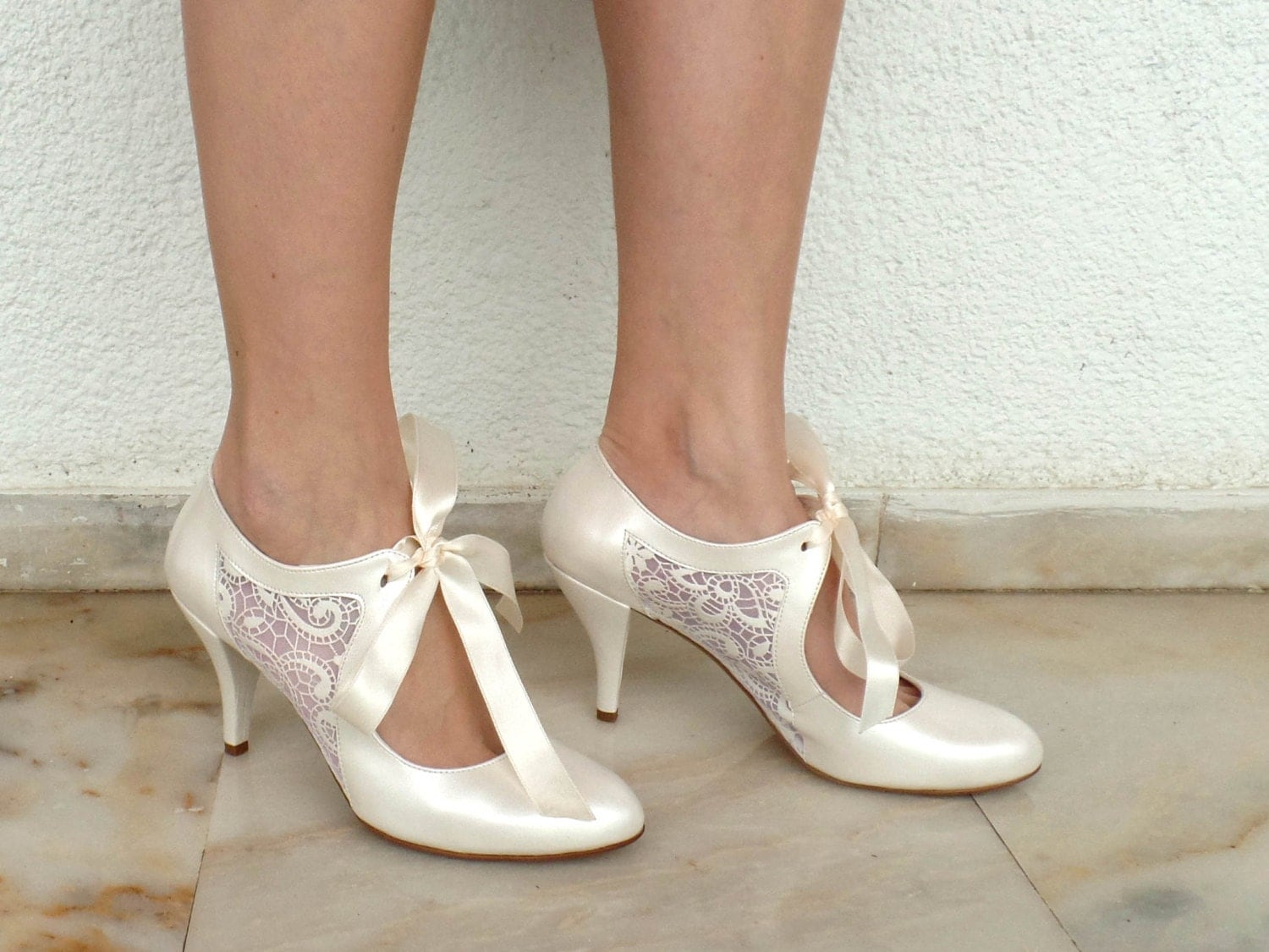 Wedding High Heels Ivory: Wedding Shoes Bridal Shoes With Ivory Lace By