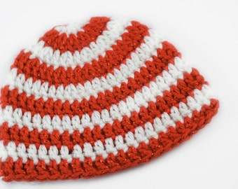 Candy Cane Baby Hat // 0 to 3 Months // Christmas Baby Hat