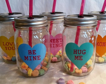ONE Sweetheart Conversation Heart Valentine Mason Jar Drink CUSTOMIIZED PERSONALIZED (you choose color and word(s)) with straw 16oz Medium