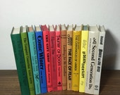 13 Rainbow Colors Book Lot / Instant Library Assorted Multi Colored Book Stack / Vintage Book Home Decor