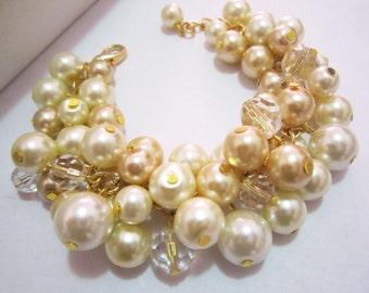 Champagne, Ivory and Gold Bracelet, Pearl Bracelet, Bridesmaids Bracelet, Cluster Bracelet, Wedding, Bridal, Bridesmaid Jewelry