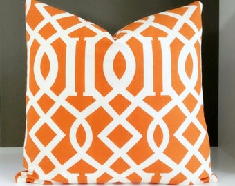 Decorative orange trellis pillow cover - All sizes available - Available fabric both sides OR solid back