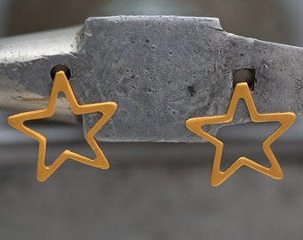 Hand made Sterling silver gold plated star earrings.