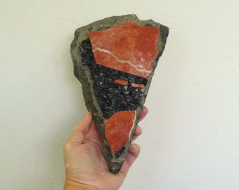 Stone mosaic / wall art mosaic / red black stones / portrait, geometric, triangular stone / face Original mixed media / home decor art