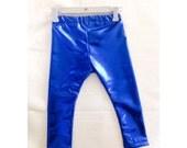 Blue leggings - Royal Blue Metallic Leggings  - Baby leggings - Fashion Leggings - ALL SIZES