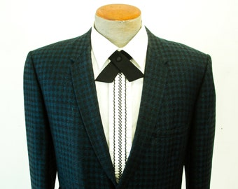 1960s Satin Continental Tie Mad Men Era Mid Century Modern Mens Vintage Black Crossover Snap Necktie Country Western Rockabilly Bowtie Groom