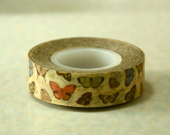 1 Roll of Japanese Washi Masking Tape Roll (15mm x 15m) - Butterfly