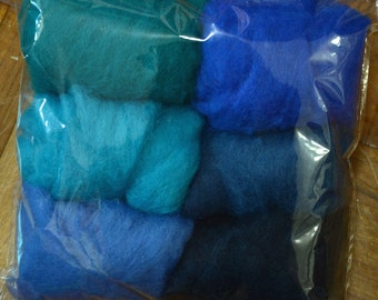 A Set of 6 Colors 42g Merino wool Kit: Turquoise and Blue colors