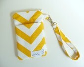 Chevron iPhone 5, 6 Wristlet, Cell Phone Zip Pouch, Phone Purse, Yellow and White Zig Zag, Great Gift