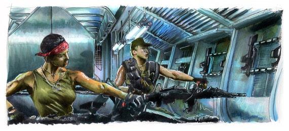 Aliens - Drake and Vasquez  Poster Print