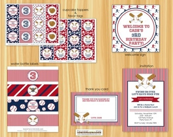 Baseball Birthday Party Decor Package | Baseball Birthday Party | Baseball Party | Cupcake Toppers, Banner, Favor Tags, Water Bottle Labels
